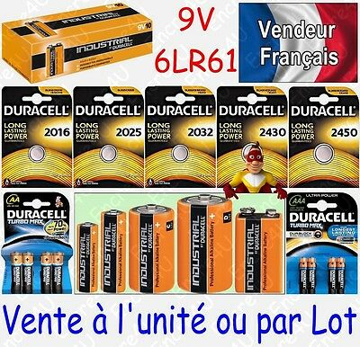 Piles 6LR61 9V DURACELL INDUSTRIAL MN1604 ( équivalent Alcaline PLUS POWER )