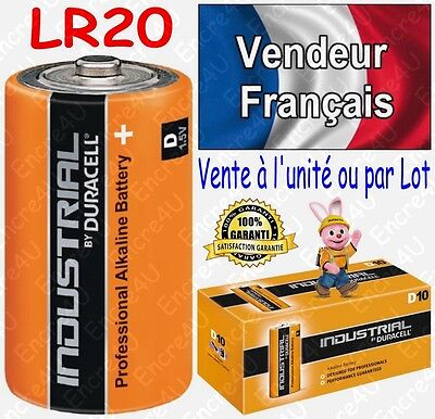 Piles LR20 R20 d DURACELL INDUSTRIAL MN1300 ( équivalent Alcaline PLUS POWER )