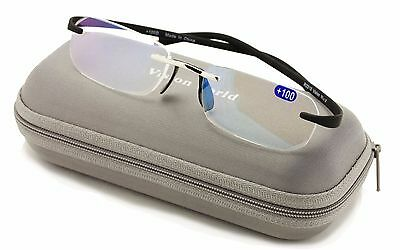 Thin Rimless Reading Glasses with Memory Flex Temple AR Anti-Reflective Coating
