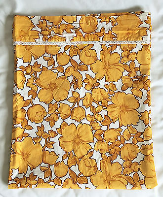 Wabasso 70s Vintage Yellow Floral Hibiscus Flower DOUBLE Flat Bed Sheet
