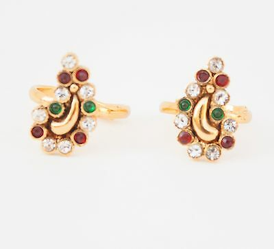 Bollywood Indian Ethnic Resizable Gold Plated Toe Ring with Red Glass Stone