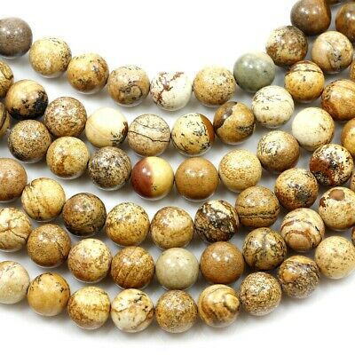 "6x6mm Natural Picture Jasper Round Spacer Beads 15"" (JP33)a"