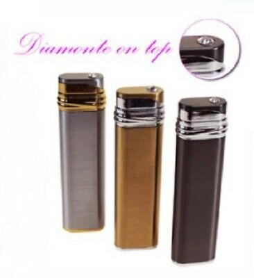 Refillable Electronic Lighter Cigarette Silver, Gold, Black with Diamonte on top