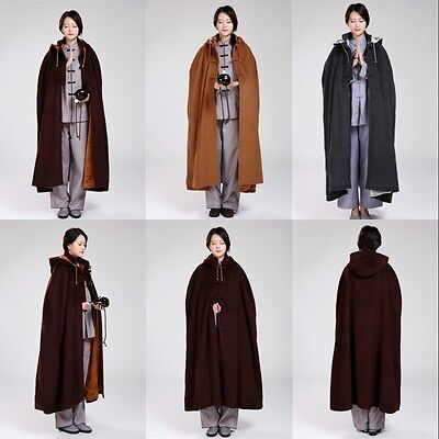 Buddhist Meditation Zen Monk Shaolin Lay Cloak Winter Warm Velvet Robe Clothing