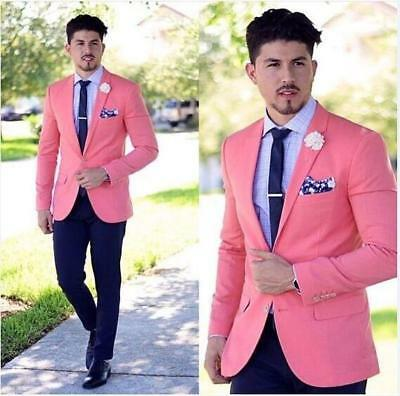 Custom Made Men's Pink Wedding Suits Groom Tuxedos Groomsmen Suit Jacket+Pants