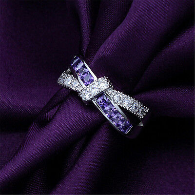 Fashion Women's Purple Sapphire Wedding Ring Jewelry Silver Plated Size 6 8 10