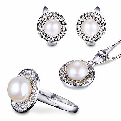 JewelryPalace Genuine Fresh Water Pearl Wedding Sets 925 Sterling Silver