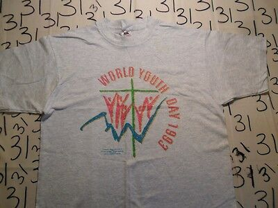 Large- NWOT Vintage 1993 World Youth Day Fruit Of The Loom T- Shirt