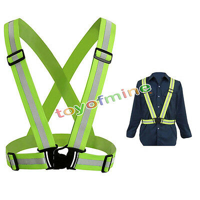 Hi Viz Adjustable Safety Security Visibility Reflective Vest Gear Stripes Jacket