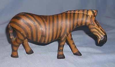 Hand Carved Wood Zebra Figurine African Safari Decor