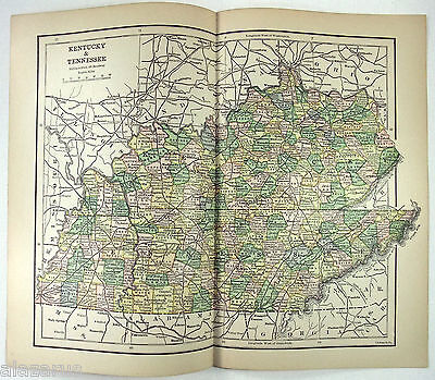 Original 1887 Map of Kentucky & Tennessee by Phillips & Hunt