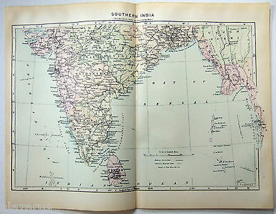 Vintage Original 1902 Map of Southern India