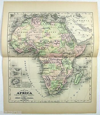 Original Johnson's 1896 Copper-Plate Map of Colonial Africa