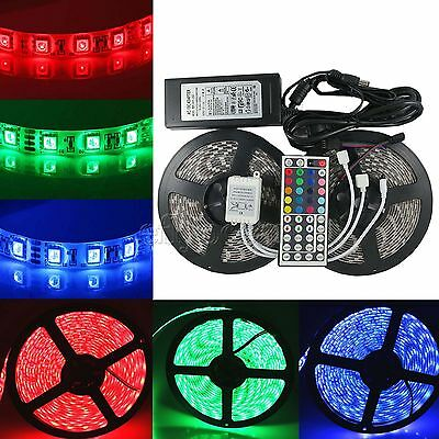 1-30m RGB LED Strip Light Waterproof SMD 5050 Flexible IR Controller Adapter 12V