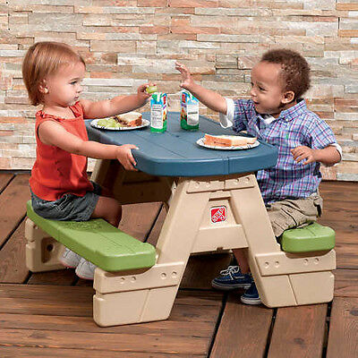 Kids Rectangle Sit Play Picnic Table Square Umbrella Is Removable Great Durable