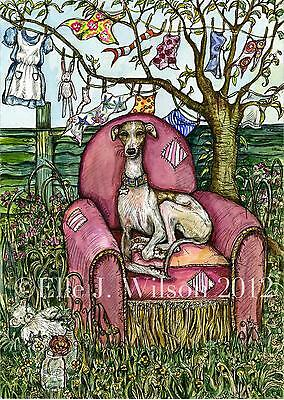 The Pink Chair-  Whippet   Art Dog Print