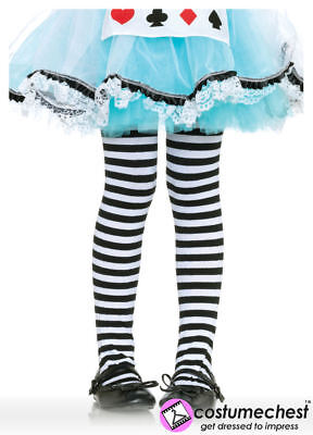 7-10 years Girls Black And White Striped Tights by Leg Avenue