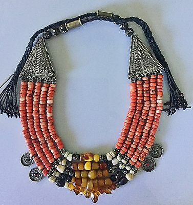 Morocco Coral Amber Yemen Silver Antique Beads Necklace