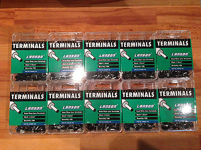 10 boxes of 100 Lanson, Black 1.5mm² Pre-Insulated Bootlace Terminals, New