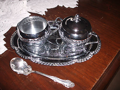 Vintage 4 Piece Irvin Ware Chrome Sugar/Creamer,Tray  & Silver Plated Spoon
