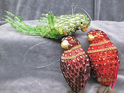 Lot Of 3 Hand Crafted Red & Green Beaded Birds With Feathers Christmas Ornaments