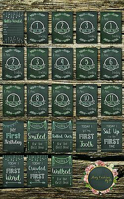 """Chalkboard Green Blue Baby Moments and Milestones Cards 23 Pack 4×6"""" Photo props"""