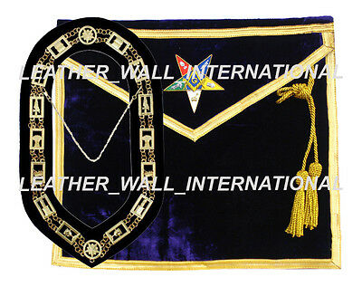 Oes Worthy Patron /matron Masonic Apron And Chain Collar Set