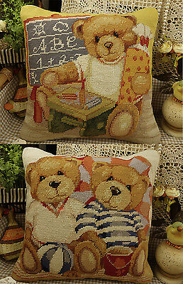 "14"" Hand Crafted Lovely Needlepoint Pillow Cute Teddy Bears"
