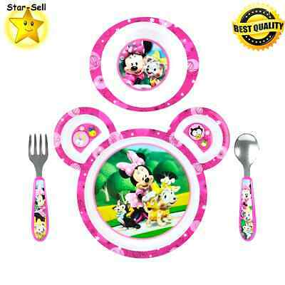Disney Minnie Mouse Kid Feeding Set 4 Piece Girl Plate Bowl Fork Spoon First Kit
