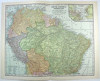 Original 1914 Map of South America - Northern Part - Peru Ecuador Columbia......