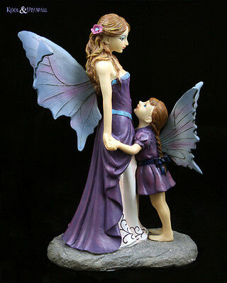 "Lisa Parker Statue Figurine: ""Amethyst Guardian"" Fairy Mother and Daughter"