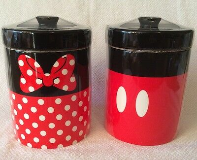 Mickey Mouse Minnie Canister Set Disney Parks Cookie Jar Storage Kitchen Set New