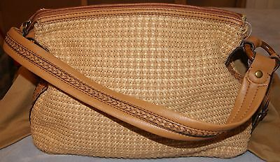Fossil Womens Weaved Tote Tan Leather Trim & Strap