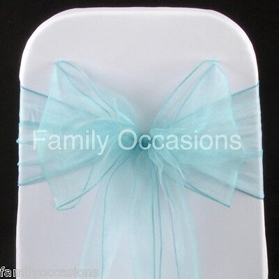Aqua Blue Organza Sashes, Chair Cover Bow Sash, 22Cm Wide To Create A Full Bow