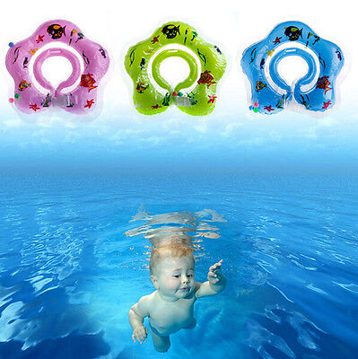 Baby Newborn Bath Hot Float Ring Inflatable Safety Aid Toy Swimming Circle Neck