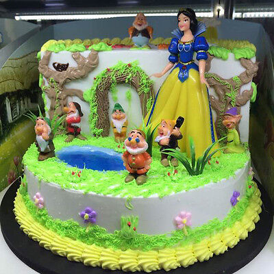 New Snow White and the Seven Dwarfs Display Figurines Set Cake Topper Decor Toy
