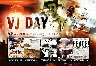 WWII 60th Anniversary of VJ-Day Enola Gay/Hiroshima Stamp Sheet 2005 Micronesia