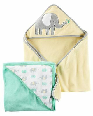New Carter's Hooded Bath Towel Elephant Terry Material NWT 2 Pack Towels
