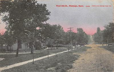 Wamego, KS West 8th Street Scene Kansas Vintage Postcard 1909