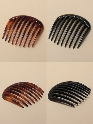 PACK OF 6 LARGE TOOTH 7.5cm SIDE HAIR COMB, hair SLIDE, ACCESSORY, BLACK, TORT