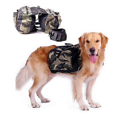 Portable Pet Dog Back Pack Backpack Oxford Saddle Bag for Camping Hiking Travel