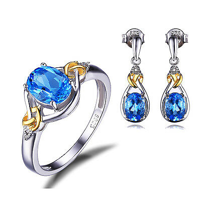 Natural Swiss blue topaz Jewelry Sets Solid 925 Sterling Silver For Women