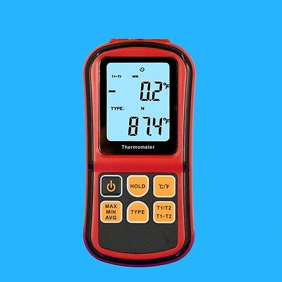 Dual Two 2 K-Type Digital Channel Thermometer Thermocouple Sensor
