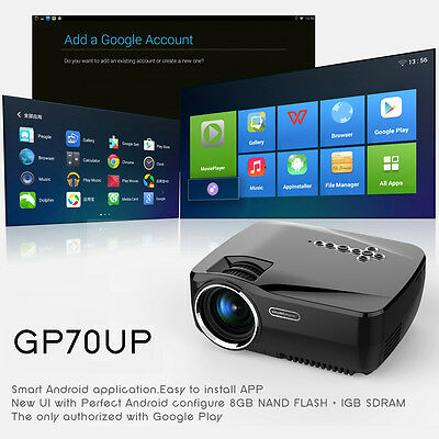 LED GP70UP home Theater Smart Projector wireless HD Bluetooth WIFI Android4.4