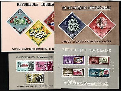 TOGO StampCollection 4 MINI SHEETS 1962-1967 all Unmounted Mint. REF:QC720