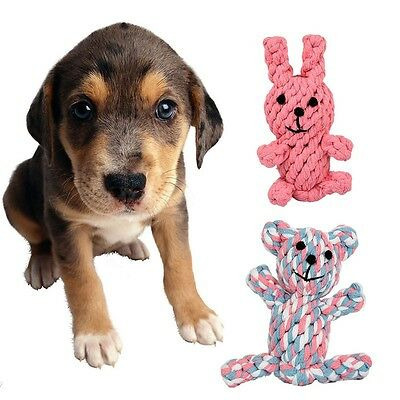 Cute Animal Shape Pet Dog Puppy Knotted Dental Floss Tough Cotton Rope Chew Toy