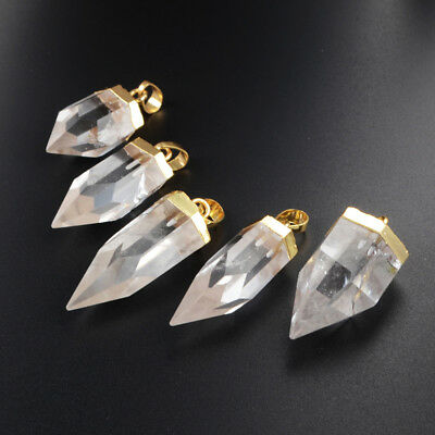 5Pcs Natural White Quartz Rock Crystal Faceted Point Pendant Gold Plated BG1009