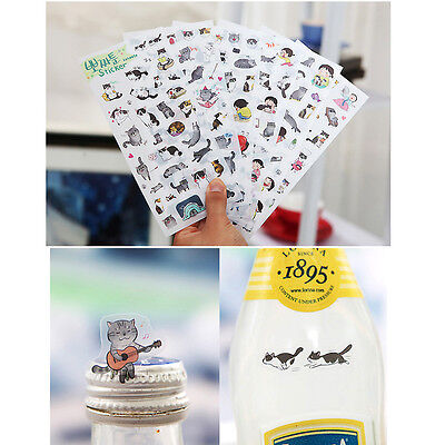 6 sheets/lot DIY Cute Kawaii Cartoon PVC Paper Stickers For Kids Toys Gift ca