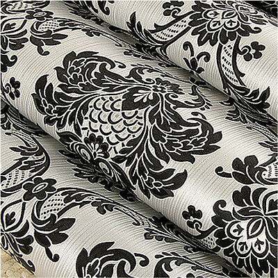 Metallic Silver Black Damask Wallpaper Vintage Vinyl Textured Wall Paper Rolls