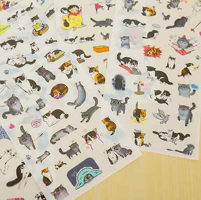 6 pcs/lot cute cat PVC paper sticker diy planner decorative sticker for Kids ca